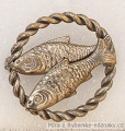 Rybářský odznak 2 ryby v kruhu