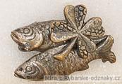 Rybářský odznak 2 ryby s lístkem